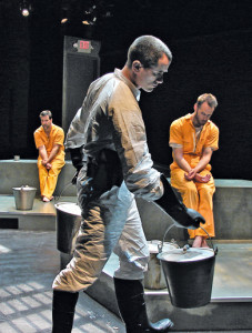 "(L to R) Matt Kirkwood, Douglas Dickerman, and Darin Singleton in ""The Unseen"" at The Road Theatre."